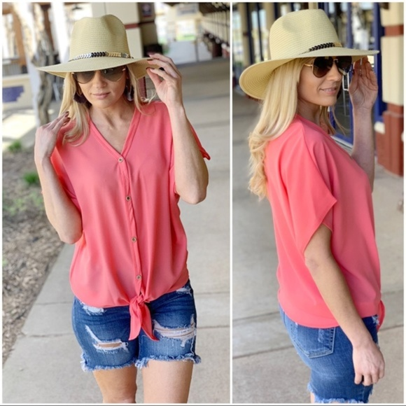 Infinity Raine Tops - Neon Coral Button Down Tie Front Tunic